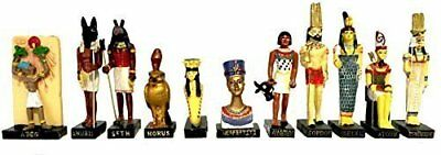 "Ancient Egypt Egyptian God 11 Figurines Set Resin Statue size 5"" high (Anty,"