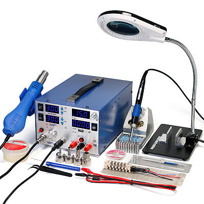 WEP853D+ 3A 30V 3 IN 1 Hot Air Rework Soldering Iron Station DC Power Supply 75W
