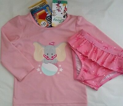 DISNEY DUMBO Baby girl 2pc rash rashie vest swimwear swimmers set NEW size 0-2