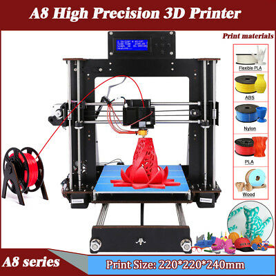 DE A8 3D Printer DIY i3 Upgradest High Precision Reprap 3D Desktop Drucker DHL