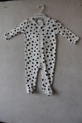 Baby Boy Size 0000,000 Marquise Winter Black Spotted Zipped Romper With Feet NWT