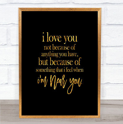 I Love You Quote Print Black & Gold Wall Art Picture