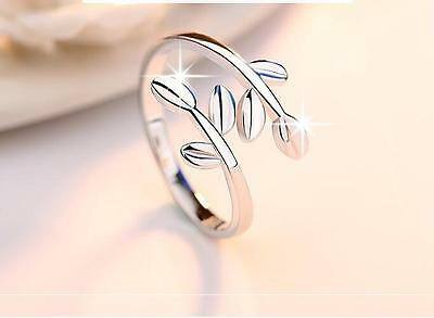Solid 925 Sterling Silver plated Midi Ring Olive Branch, Above Knuckle Gift