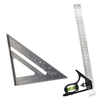 """7'' 90 Degree Triangle Ruler + 12"""" Adjustable Combination Square Right Angle"""