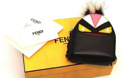 Authentic FENDI Black Leather and Nylon Monster Eyes Fur Key Chain and Bag  Charm 1511ec2737024