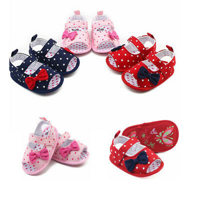 Summer Newborn Infant Baby Boy Girls Crib Bow Soft Sole Anti-slip Sneakers Shoes