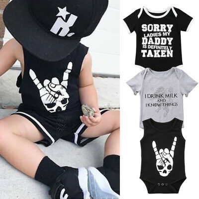 AU Newborn Baby Girls Boy Skull Romper Jumpsuit Bodysuit Clothes Outfits Summer