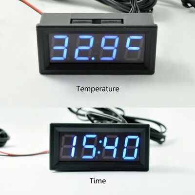 "0.56"" Car Digital Electronic Clock Voltage Meter LED Temperature 12V 24V 36v 48v"