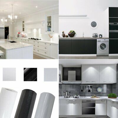 5m 10m Black White Kitchen Worktop Covering Vinyl Self Adhesive Cover Diy Roll