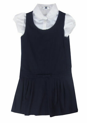 Girls Navy Pinafore School dress with White Blouse Uniform age 4-10 yrs 2 piece