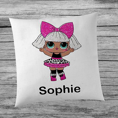 LOL Surprise Doll Diva Inspired Cute Girl's Personalised Name Cushion Cover Kids