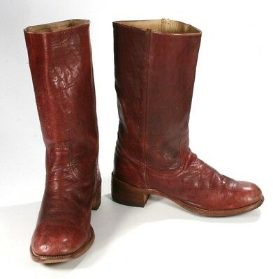 019354a2528 Vintage Frye Burgundy Oxblood Leather 1970 s Campus Pull On Boot 2950T 14D