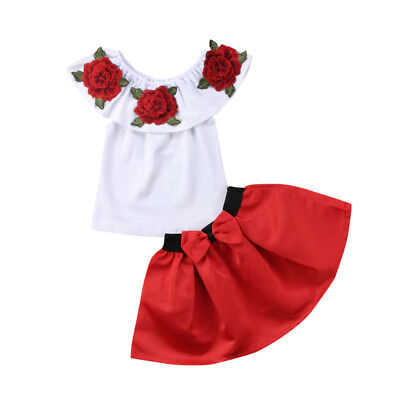 2018 Flower Kids Baby Girl Off Shoulder Tops Dress Skirt Clothes Outfit UK Stock