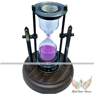 Brass Marine Movable Hourglass With Compass Vintage Decorative Timer Sand Storm