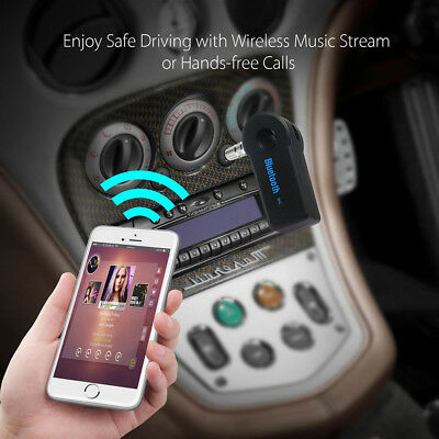 Wireless Bluetooth 3.5 mm AUX Audio Stereo Music Home Car Receiver Adapter + Mic