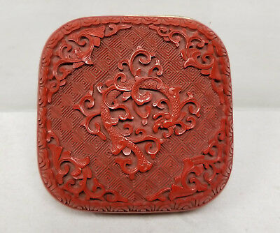 Antique Vintage Chinese Republic Period Red Cinnabar Lacquer Box Dragon