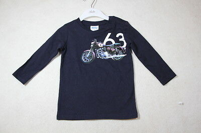 Baby Boy Size 00,0 Milky Winter Navy Long Sleeve Top With Graphics  NWT