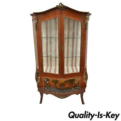 Louis XV French Style Reproduction Bombe Curio China Cabinet Vitrine with Bronze