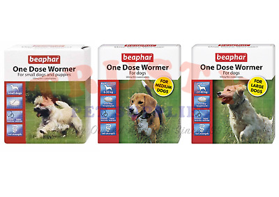 Beaphar One Dose Dog Puppy Wormer Worming Tablets Roundworm Tapeworm Treatment