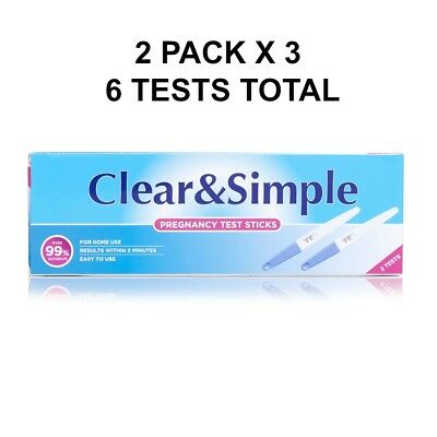 Clear & Simple Pregnancy Test Kit Twin Pack X 3 BEST BEFORE 2020
