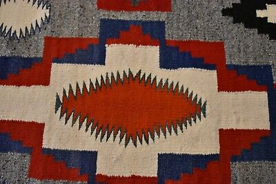 """Barely Used 1940ish Navajo Rug Cool Colors 74""""x41.5"""""""