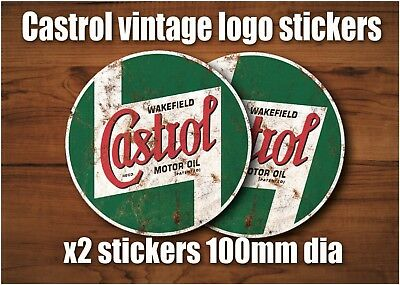 x2 Castrol Retro logo vinyl sticker 100mm did decal Euro style Castrol 3
