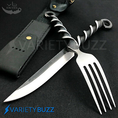 New Medieval Fork and Knife Feasting Set with Custom Leather FIXED BLADE SHEATH
