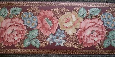Vintage Pink /& Cream Floral Swags on Federal Blue by Thomas Strahan 999-1210