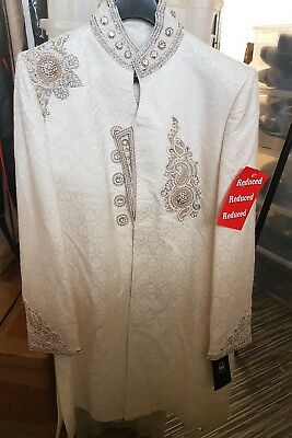 Off White Silver Sherwani Indian Groom Wear Suit Size 38 RRP £400