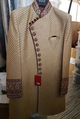 Gold Maroon Groom Sherwani Indian Wedding Outfit Size 40 RRP £400
