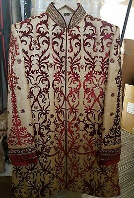 Gold Maroon Brocade Velvet Sherwani Indian Wedding Groom Outfit Size 40 RRP £600