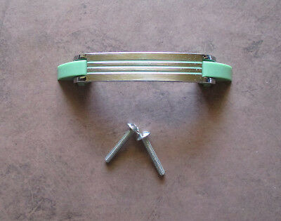 "Vintage 4 1/4"" inch drawer pull Chrome with green lines Amerock – Deco style"