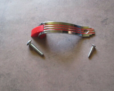 """Vintage 3 ¾"""" door pull in chrome with red lines Amerock – Deco style"""