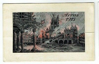 Ww1 Woven Silk Postcard Arras Ruins E.d. Paris Vintage 1915