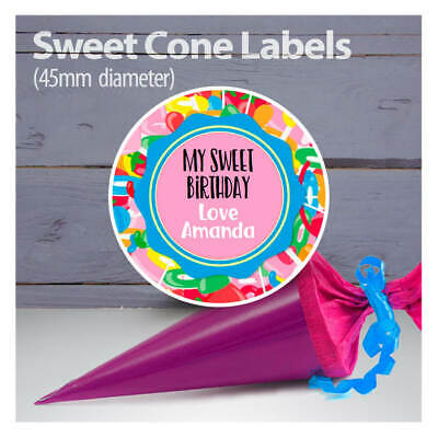 065 35 x Personalised Frozen Elsa Birthday Stickers Sweet Cone Party bag Seals