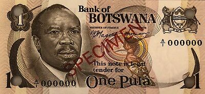 BOTSWANA PULA 1976 SPECIMEN SET of 5 CURRENCY MONEY BILL BANK NOTE