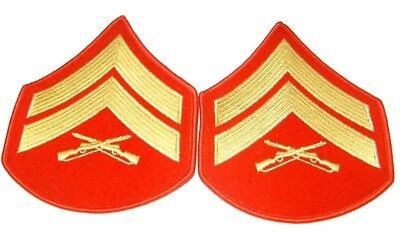 USMC Marines CORPORAL Chevrons PATCH pair Gold/Red for Dress Blues
