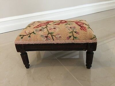 Antique Needlepoint with Cardinals, Flowers Foot Stool