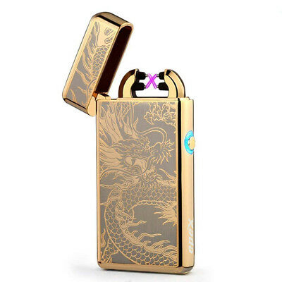 USB Electric Dual Arc Flameless Torch Rechargeable Windproof Lighter Gold Dragon