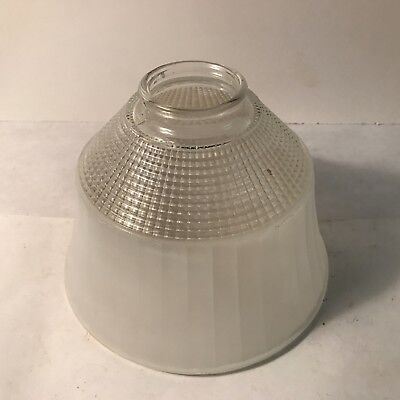Antique clear frosted glass table lamp shade holder diffuser 2 1/4 inch fitter