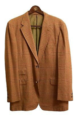 Vintage DH Holmes Cricketeer Brown Plaid Houndstooth 2-Button Sport Coat 40R