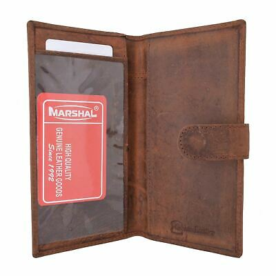 Vintage Genuine Leather RFID Blocking Simple Checkbook Cover with Snap Closure
