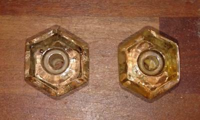 Pair Antique/Vintage Glass Knobs/Pulls Drawer/Cabinet Handles Small     #A76