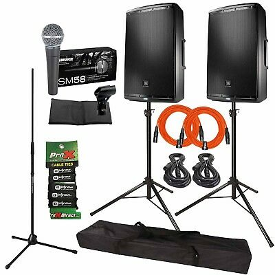 "JBL Professional EON615 15"" Powered DJ PA Speakers + Stands + Cables + SM58 Mic"