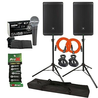"JBL Professional EON615 15"" Powered DJ PA Speakers + Stands +SM58 Mic Pack"