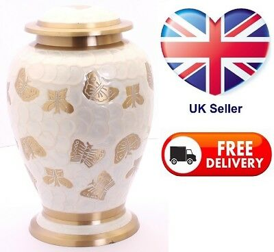 Large Cremation Urns for Ashes Adult Funeral Memorial Pearl White Butterfly Urn