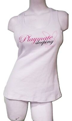 Playboy PJ Shirt Ribbed Pajama Tank Top 100% Cotton White + Sleeping Blindfold