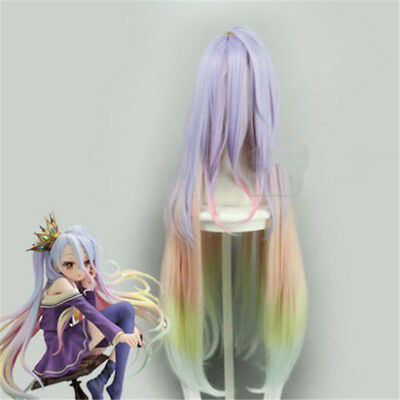 No Game No Life Shiro Cosplay Hair Wig Colour Mixture Anime Figure Hairpiece HOT