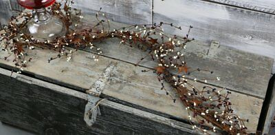 "Country Primitive Rustic 40"" Patriotic Mix Pip Berry & Rusty Star Garland"