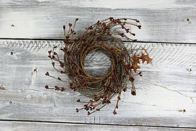 "Country Primitive Rustic 10"" Pip Berry & Rusty Star Wreath/candle Ring Burgundy"